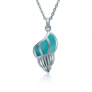 Conch Shell Pendant   - ss.Turquoise