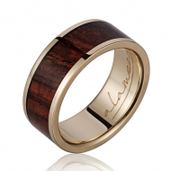 14K  YG Wood Ring Cocobolo