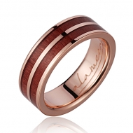 14K  PG Wood Ring Pink Ivory